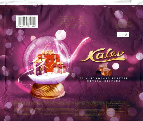 Kalev, milk chocolate with whole hazelnuts, 200g, 07.11.2011, AS Kalev Chocolate Factory, Lehmja, Estonia