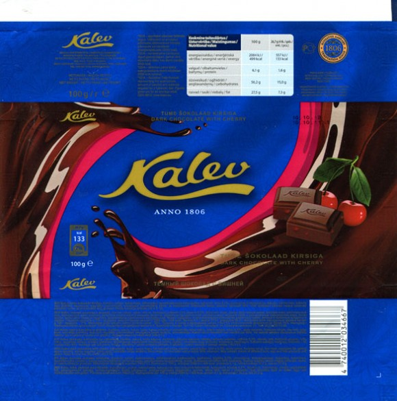 Kalev dark chocolate with cherry, 100g, 10.10.2011, AS Kalev Chocolate Factory, Lehmja, Estonia