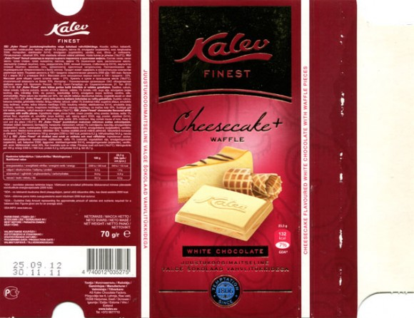 Kalev Finest, cheesecake flavoured white chocolate with waffle pieces, 70g, 30.11.2011, AS Kalev Chocolate Factory, Lehmja, Estonia