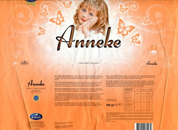 Anneke, milk chocolate, 300g, 06.08.2012, AS Kalec Chocolate Factory, Lehmja, Estonia