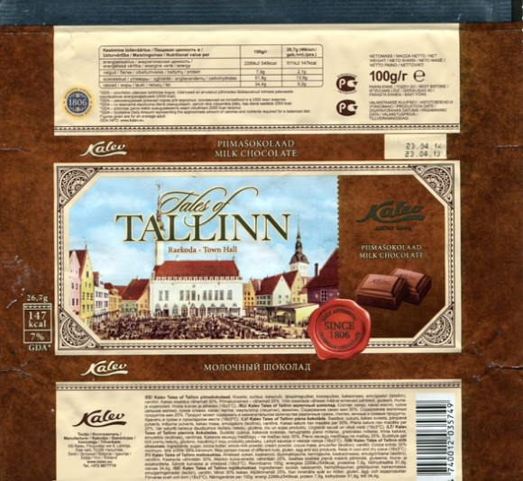 Tales of Tallinn, Town Hall, milk chocolate, 100g, 23.04.2013, AS Kalev Chocolate Factory, Lehmja, Estonia