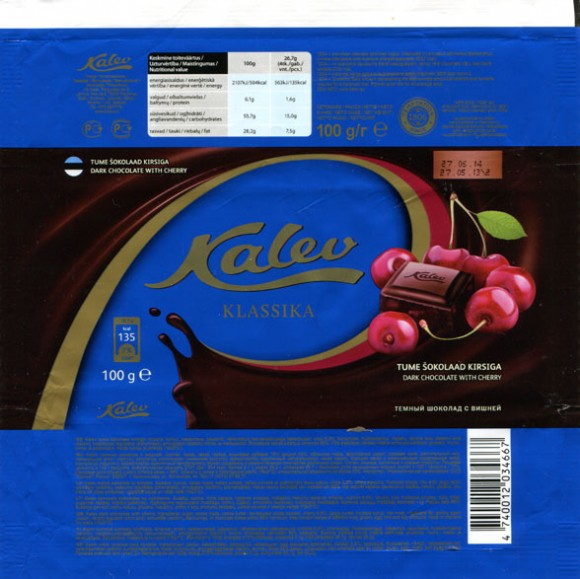 Kalev klassika, dark chocolate with cherry, 100g, 27.05.2013, AS Kalev Chocolate Factory, Lehmja, Estonia