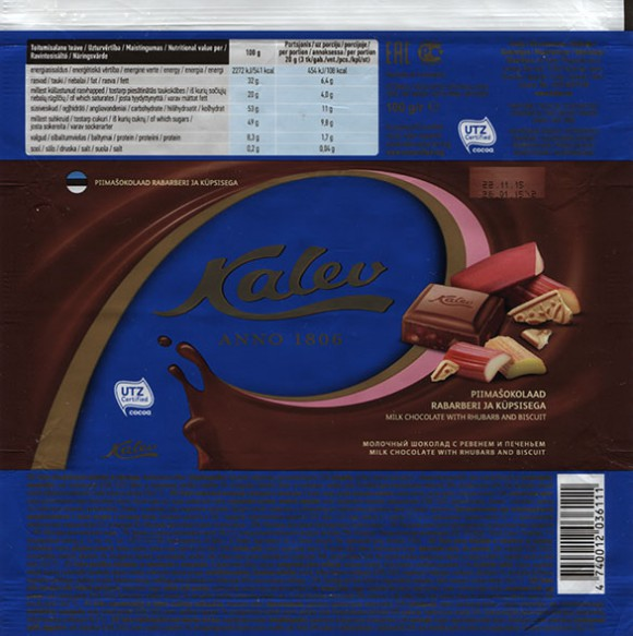 Kalev Anno 1806, milk chocolate with rhubarb and biscuit, 100g, 26.01.2015, AS Kalev, Lehmja, Estonia