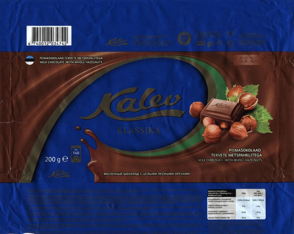 Kalev klassika, milk chocolate with whole hazelnuts, 200g, 19.05.2014, AS Kalev, Lehmja, Estonia
