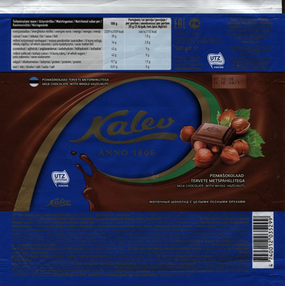 Kalev Anno 1806, milk chocolate with whole hazelnuts, 100g, 11.12.2014 AS Kalev, Lehmja, Estonia