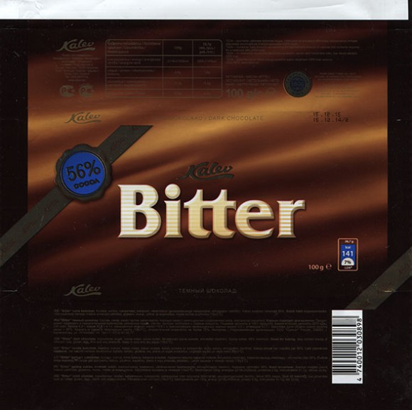 Bitter, dark chocolate, 100g, 15.12.2014, AS Kalev, Lehmja, Estonia
