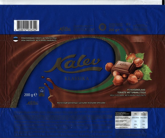 Kalev klassika, milk chocolate with whole hazelnuts, 200g, 10.12.2013, AS Kalev, Lehmja, Estonia