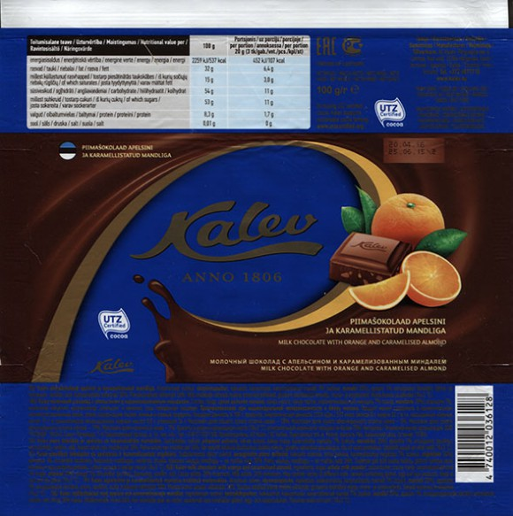 Kalev Anno 1806, milk chocolate with orange and caramelised almond, 100g, 25.06.2015, AS Kalev, Lehmja, Estonia