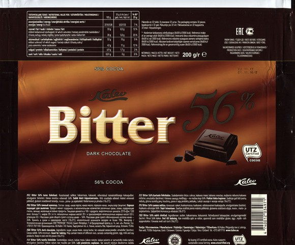 Bitter 56%, dark chocolate, 200g, 23.11.2016, AS Kalev, Lehmja, Estonia