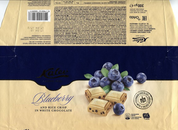 Kalev white chocolate with blueberry and crisped rice, 300g, 17.04.2017, AS Kalev, Lehmja, Estonia