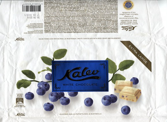 Kalev white chocolate with rice crisp and blueberry, 300g, 29.10.2014, AS Kalev, Lehmja, Estonia