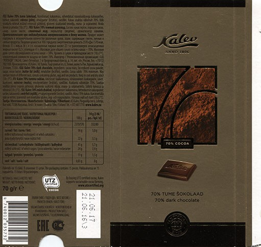 Kalev 70% dark chocolate, 70g, 21.06.2016, AS Kalev, Lehmja, Estonia