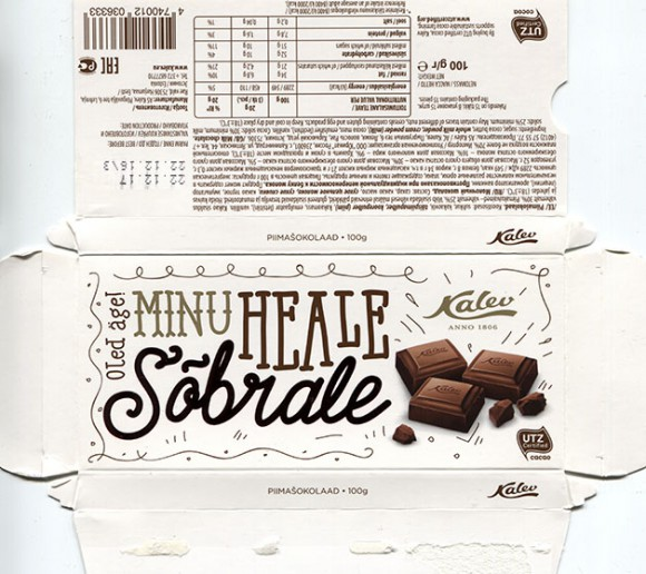 Minu heale sobrale, milk chocolate, 100g, 22.12.2016, AS Kalev, Lehmja, Estonia