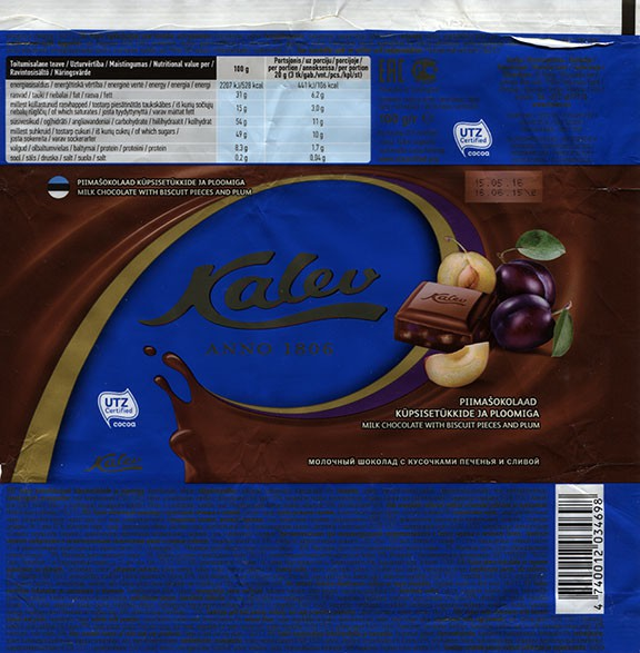 Kalev Anno 1806, milk chocolate wih bscu pieces and plum, 100g, 16.06.2015, AS Kalev, Lehmja, Estonia