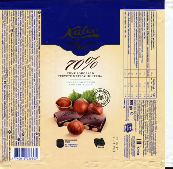 Dark chocolate with whole hazelnuts, 100g, 01.11.2016, AS Kalev, Lehmja, Estonia