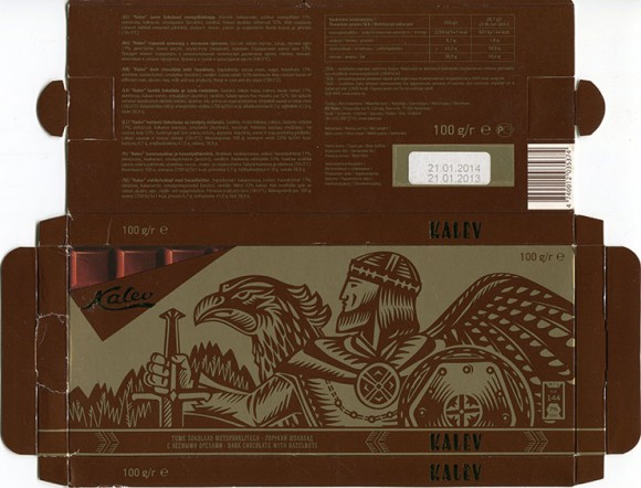 Kalev, dark chocolate with hazelnuts, 100g, 21.01.2013, AS Kalev, Lehmja, Estonia