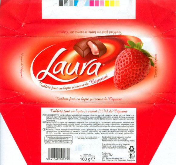 Laura, milk chocolate with strawberry cream filling, 100g, 05.02.2005, S.C.Kandia-Excelent S.A, Bucharest, Romania