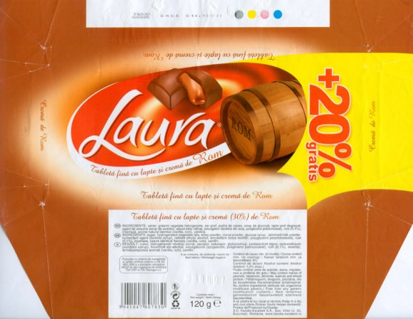 Laura, milk chocolate with rom, 120g, 01.06.2006, S.C.Kandia-Excelent S.A, Bucharest, Romania
