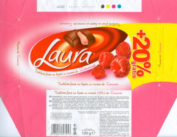 Laura, milk chocolate with raspberry, 120g, 04.07.2006, S.C.Kandia-Excelent S.A, Bucharest, Romania