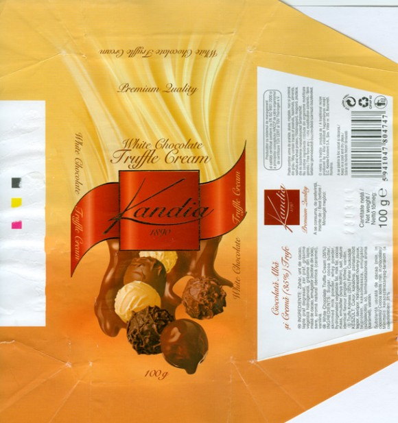 White chocolate truffle cream, 100g, 23.03.2006, S.C.Kandia-Excelent S.A, Bucharest, Romania