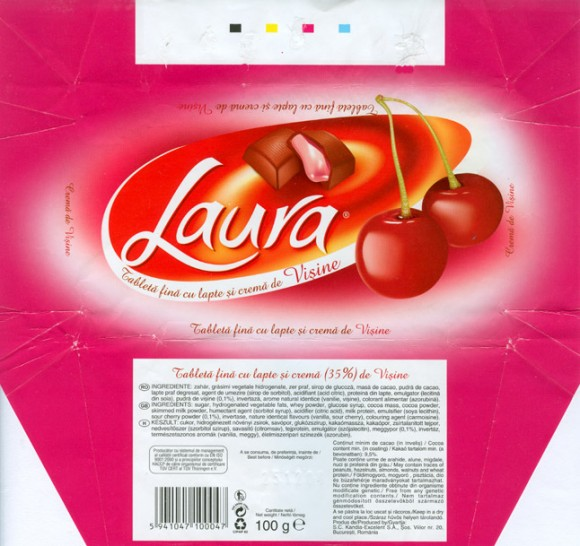 Milk chocolate with cherry cream filling, 100g, 25.12.2005, S.C.Kandia-Excelent S.A, Bucharest, Romania