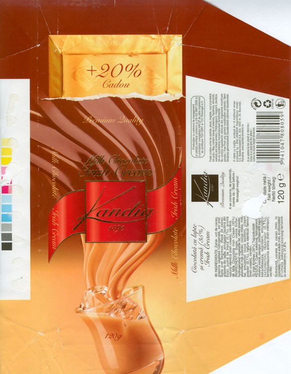 Kandia 1890. milk chocolate with Irish cream filling, 120g, 07.2006, S.C.Kandia-Excelent S.A, Bucharest, Romania