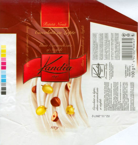 Kandia 1890, milk chocolate with raisins and nuts, 100g, 02.11.2006, S.C.Kandia-Excelent S.A, Bucharest, Romania