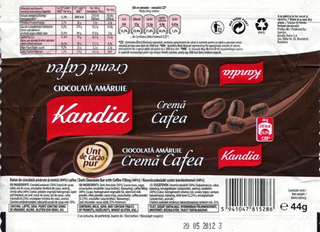 Kandia, Dark chocolate bar with coffee filling, 44g, 20.05.2011, Kandia Dulce S.A, Bucharest, Romania