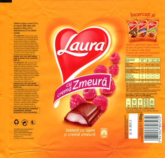 Laura, milk tablet with raspberry filing, 100g, 12.10.2011, Kandia Dulce S.A, Bucharest, Romania