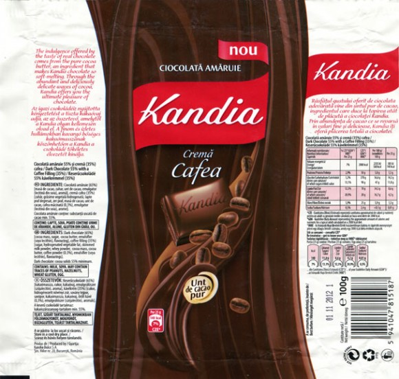Kandia, dark chocolate 55 % with a coffee filling, 100g, 01.11.2011, Kandia Dulce S.A, Bucharest, Romania