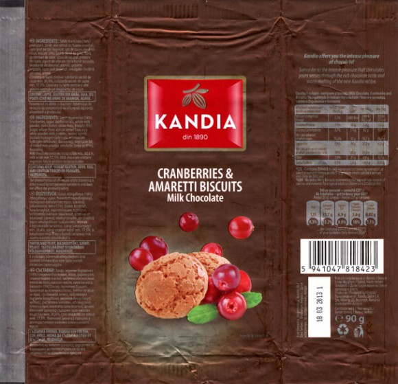 Kandia, milk chocolate with cranberries and amaretti biscuits, 90g, 18.03.2012, Kandia Dulce S.A, Bucharest, Romania