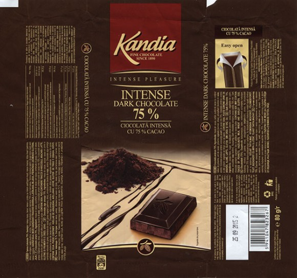 Intense Pleasure, dark chocolate, 80g, 25.09.2014, Kandia Dulce S.A, Bucharest, Romania