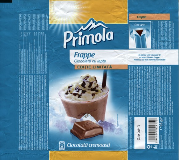 Primola, milk chocolate with frappe filling, 95g, 23.04.2014, Kandia Dulce S.A, Bucharest, Romania
