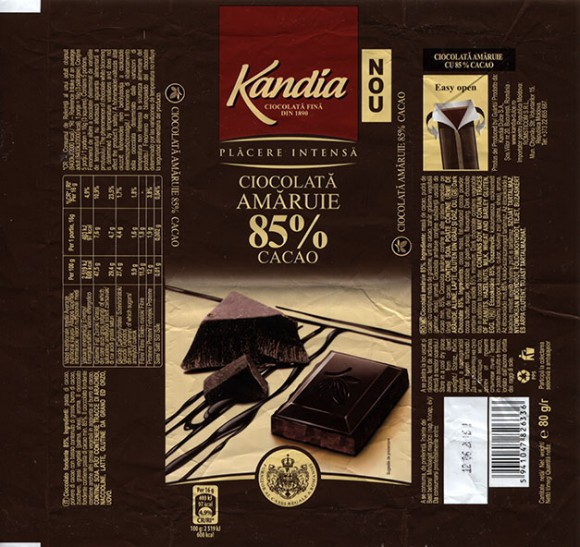 Dark chocolate, 80g, 12.06.2015, Kandia Dulce S.A, Bucharest, Romania