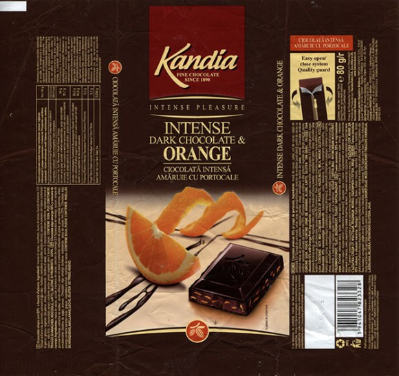 Kandia, dark chocolate with orange peel, 80g, 2014, Kandia Dulce S.A, Bucharest, Romania