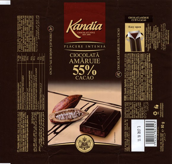 Kandia, Chocolate, 80g, 11.10.2016, Kandia Dulce S.A, Bucharest, Romania