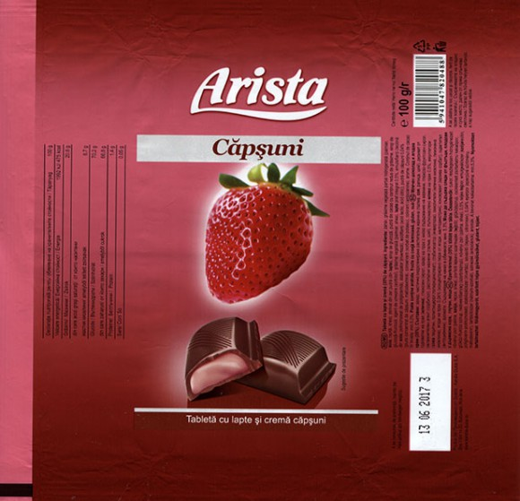 Arista, milk chocolate tablet with strawberry cream filling, 100g, 13.06.2016, Kandia Dulce S.A, Bucharest, Romania