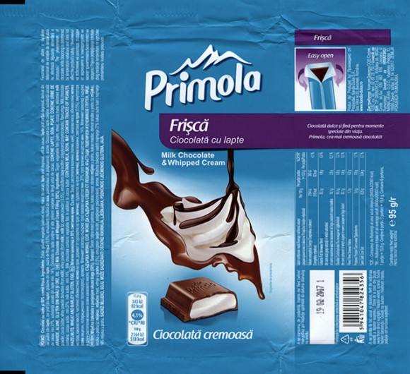 Primola, milk chocolate and whipped cream filling, 95g, 19.02.2016, Kandia Dulce S.A, Bucharest, Romania