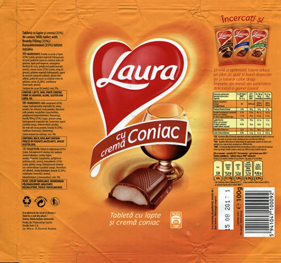 Laura, Milk tablet with brandy filling, 100g, 15.08.2012, Kandia Dulce S.A, Bucharest, Romania