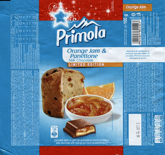 Primola, milk chocolate with orange jam and panettone, 100g, 26.06.2012, Kandia Dulce S.A, Bucharest, Romania