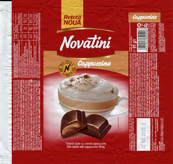 Novatini, milk tablet with cappuccino filling, 95g, 12.02.2014, Kandia Dulce S.A, Bucharest, Romania