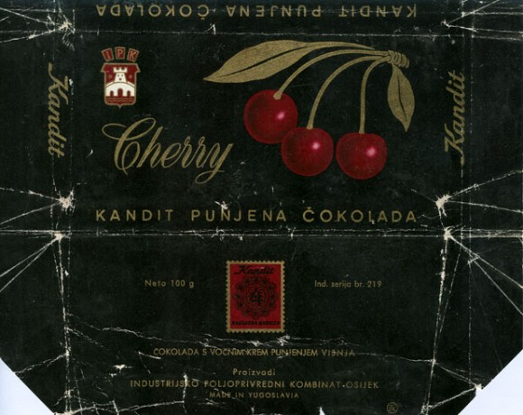 Milk chocolate with cherry flavoured, 100g, 1970, industrijsko Poljoprivredni kombinat, Kandit, Osijek, Croatia, (made in Yugoslavia)