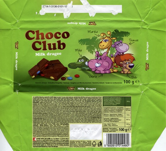 Choco club, milk dragee, 100g, 12.2014, Kaufland Polska, Poland