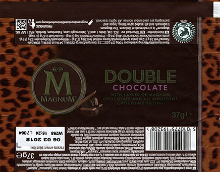 Magnum, double chocolate with layers of Magnum chocolate and an indulgent chocolate filling, 37g, 06.03.2017, KCL Ltd, Oxborough Lane, Fakenham, Norfolk, United Kingdom
