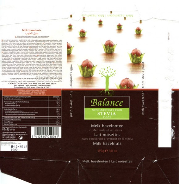Balance with sweetener from stevia plant, milk chocolate with hazelnuts, 85g, 12.2012, Klingele Chocolade NV, Evergem, Belgium