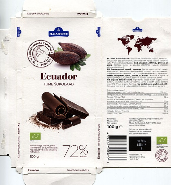 Ecuador, organic dark chocolate, 100g, 10.2015, made in EU, Maiasmokk, Kommivabrik, Tallinn, Estonia