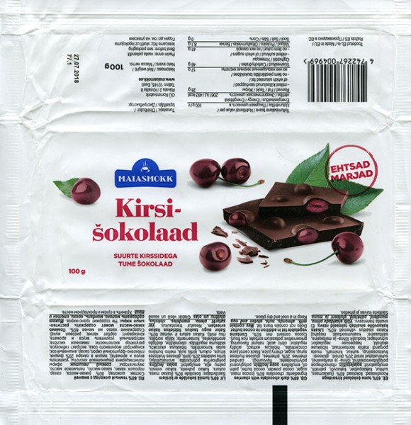 Dark chocolate with cherry pieces, 100g, 27.07.2017, made in EU, Maiasmokk, Kommivabrik, Tallinn, Estonia