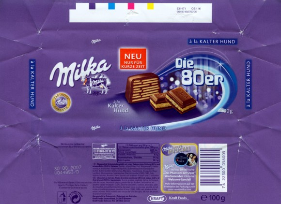 Filled Alpine milk chocolate with cacao flavour filling and cream filling and a layer of biscuit, 100g, 30.08.2006, Kraft Foods Austria, Bludenz, Austria