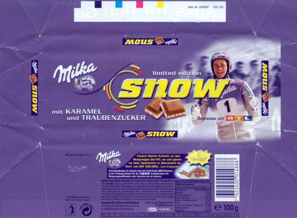Milka limited edition snow, milk chocolate with caramel, 100g, 02.09.2000, Suchard-Schokolade Ges.m.b.H., Bludenz, Austria
