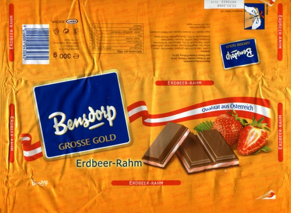 Bensdorp grosse gold, Erdbeer-rahm, milk chocolate with strawberry cream filling, 300g, 15.01.2007, Bensdorp, Kraft Foods, Wien, Austria